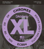 D'Addario ECB84 Chromes Bass Guitar Strings, Custom Light, 40-100, Long Scale