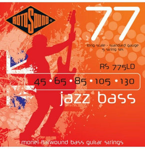 Rotosound RS775LD Jazz Bass 77 Monel Flatwound Bass Guitar Strings - 5 String