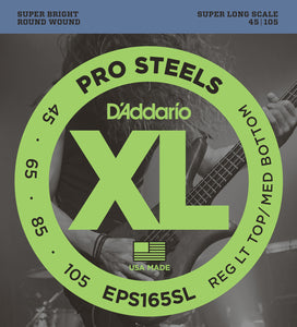 D'Addario EPS165SL ProSteels Bass Guitar Strings, Extra Long, 45-105
