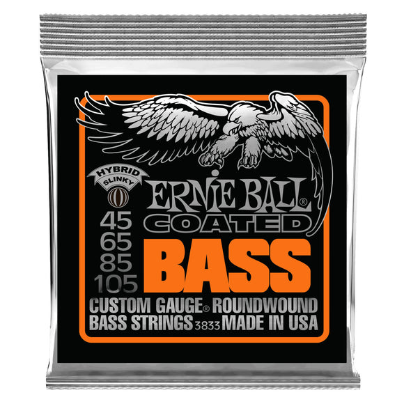 Ernie Ball 3833 Hybrid Slinky Coated Electric Bass Strings - 45-105 Gauge