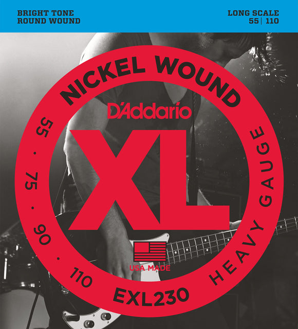 D'Addario EXL230 Nickel Wound Bass Strings, Heavy, 55-110, Long Scale