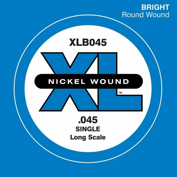 D'Addario XLB045 Nickel Wound Bass Guitar Single String, Long Scale, .045
