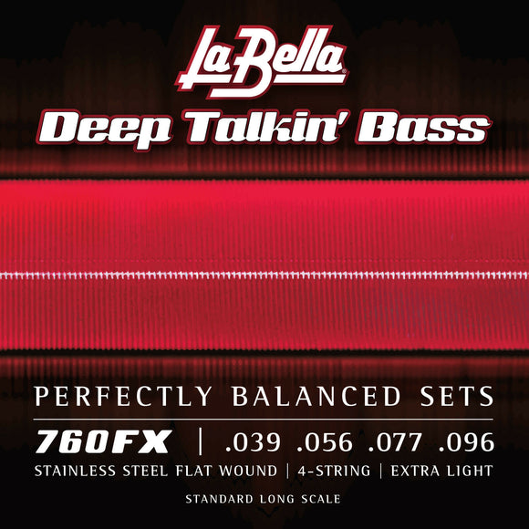 La Bella 760FX Deep Talkin Bass Stainless Steel Flats, Extra Light 39-96
