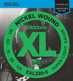 D'Addario EXL220-5 Nickel Wound 5 String Bass, Super Light, 40-125, Long Scale