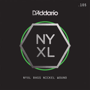 D'Addario NYXLB105T, NYXL Nickel Wound Bass Guitar Single String, Long Scale, .105 , Tapered