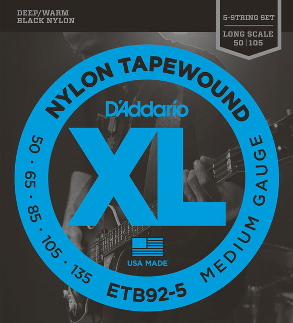 D'Addario ETB92-5 5-String Tapewound Bass Strings, 50-135, Long Scale