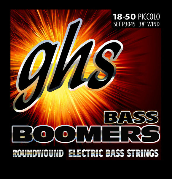 GHS P3045 Piccolo Bass Boomers Roundwound Bass Guitar Strings 18-50
