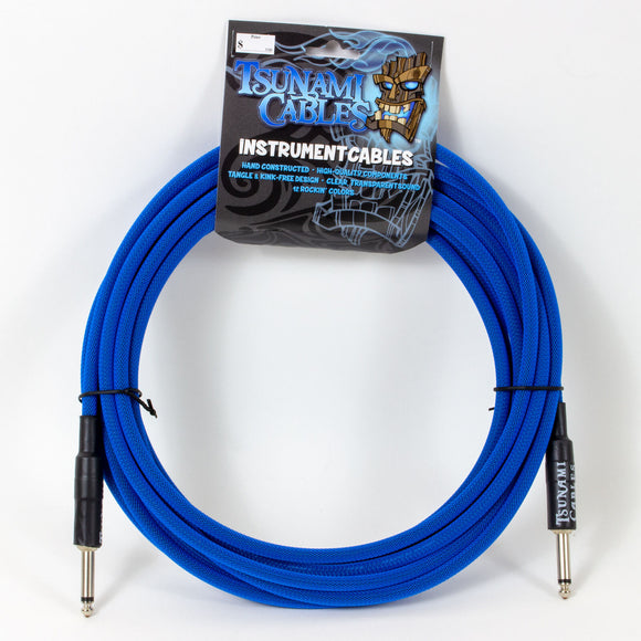 Tsunami 10ft Instrument Cable - TC Blue - Straight-Straight Connectors