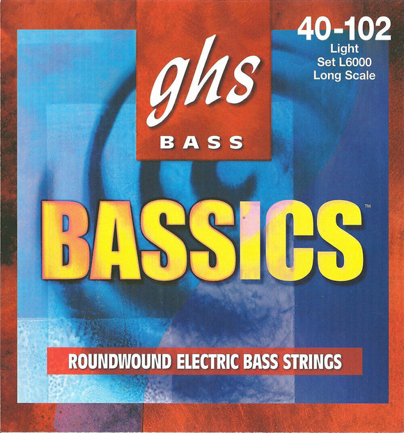 GHS L6000 Bassics Roundwound Bass Guitar Strings, Light 40-102