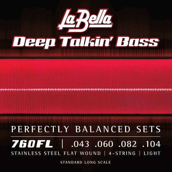 La Bella 760FL Deep Talkin' Bass Stainless Steel Flatwound Bass Strings, Light 43-104
