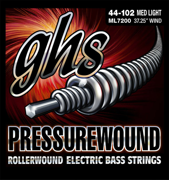 GHS ML7200 Pressurewound Bass Guitar Strings, Med Light 44-102