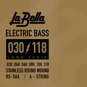 La Bella RX-S6A Rx Stainless Steel Bass Strings, 6-String 30 40 60 80 100 118