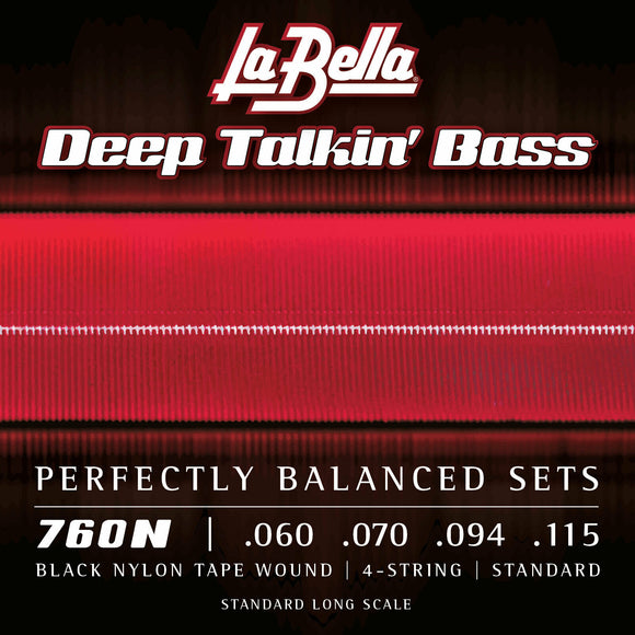 La Bella 760N Black Nylon Tapewound Bass Strings, Standard 60-115
