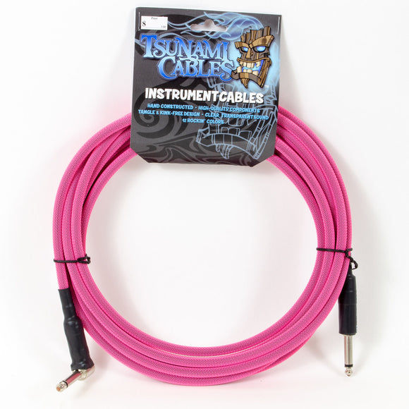 Tsunami 15ft Instrument Cable - Hot Pink - Straight-90deg Connectors