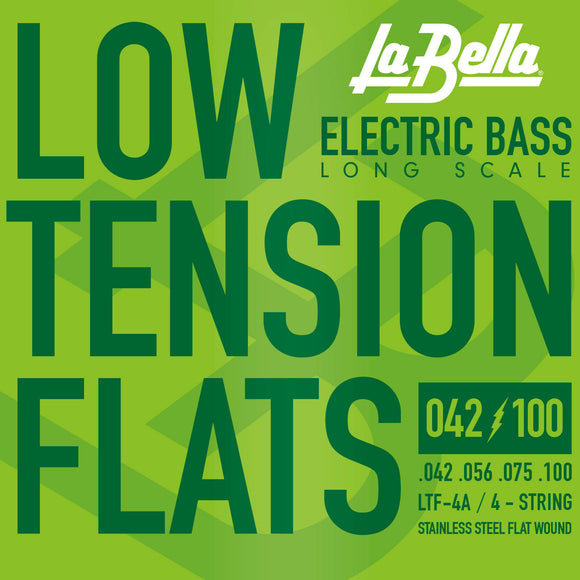 La Bella LTF-4A Low Tension Flats, Stainless Steel Flatwound Bass Strings 42-100