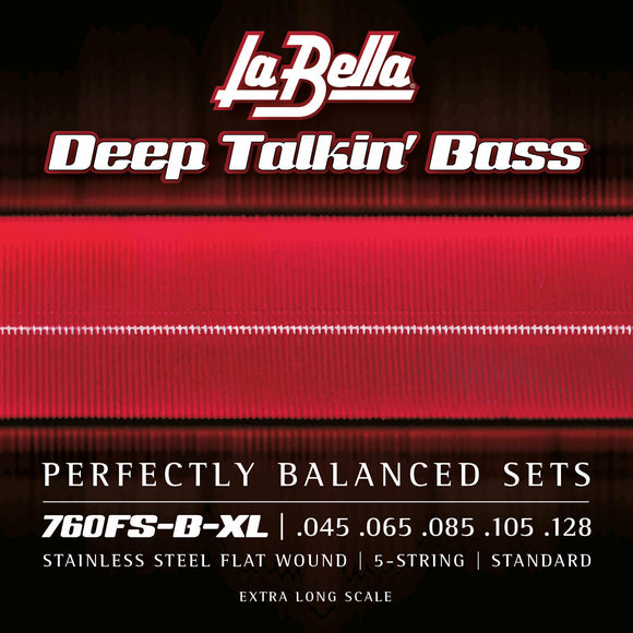 La Bella 760FS-B-XL Stainless Steel Flats, Extra Long Scale, 5-String 45-128T