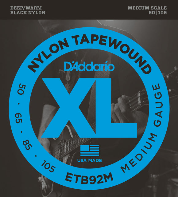 D'Addario ETB92M Tapewound Bass Guitar Strings, 50-105, Medium Scale
