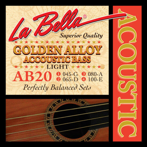 La Bella AB20 Acoustic Bass, Golden Alloy Acoustic Bass Strings, Light 45-100