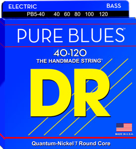 DR Strings PB5-40 Pure Blues Bass Guitar Strings, 5-String, Light 40-120
