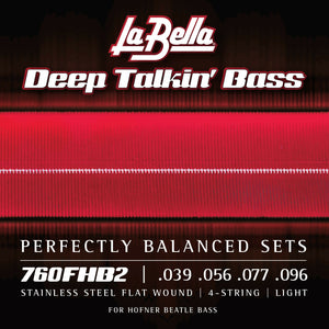 La Bella 760FHB2 Beatle Bass Stainless Steel Flatwound Strings, Light 39-96