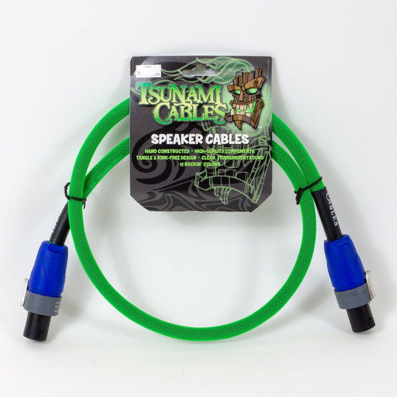 Tsunami 3ft Speaker Cable - Neon Green - Speakon Connectors