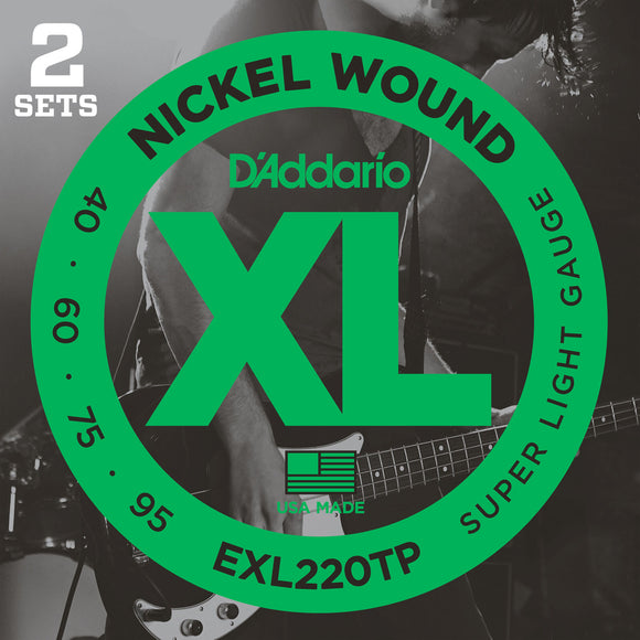 D'Addario EXL220TP Nickel Wound Bass Strings, Super Light, 40-95, 2 Sets, Long Scale