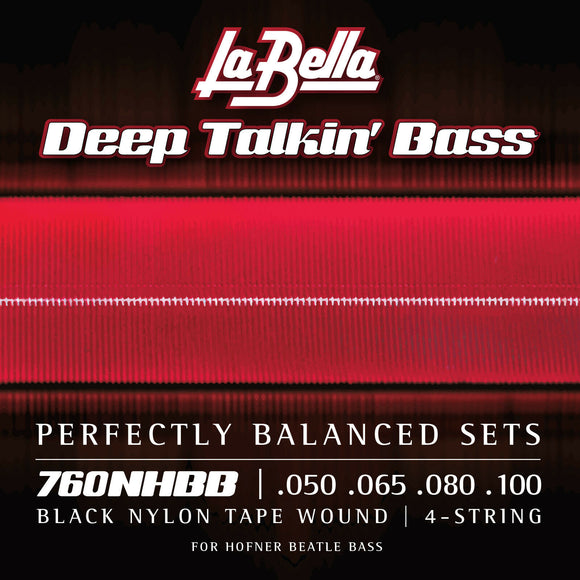 La Bella 760NHBB Beatle Bass Black Nylon Tapewound Bass Guitar Strings 50-100