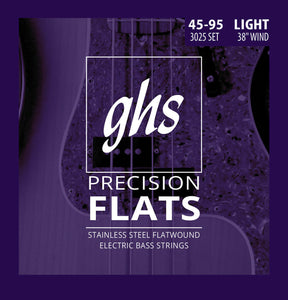 GHS 3025 Precision Flats Stainless Steel Bass Strings, Light 45-95