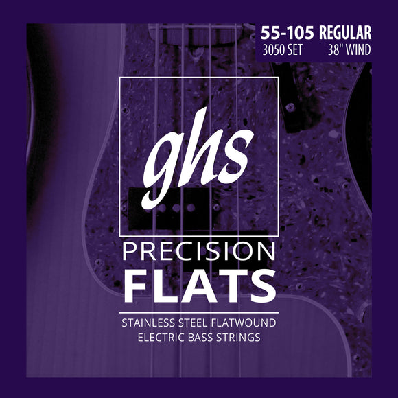 GHS 3050 Precision Flats Stainless Steel Flatwound Bass Strings 55-105