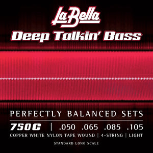 La Bella 750C Copper White Nylon Tapewound Bass Guitar Strings, Light 50-105