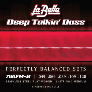 La Bella 760FM-B Deep Talkin Bass Flats, 5-String, Medium 49-128T