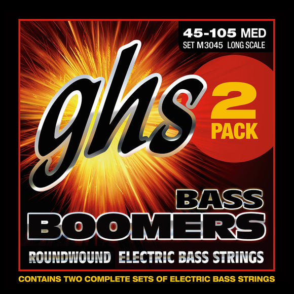 GHS M3045 Bass Boomers Bass Guitar Strings, 2-Pack, 45-105