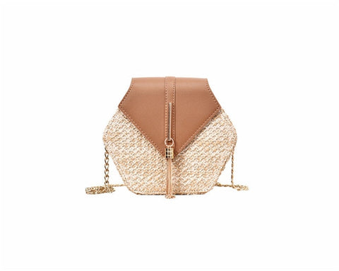 Hexagon Mulit Style Straw+leather Handbag - Saving Trend