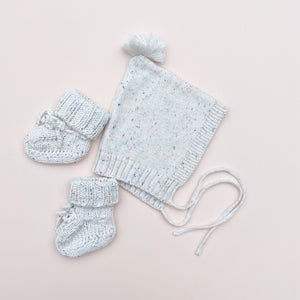 Vanilla Speckles Bonnet + Booties Set
