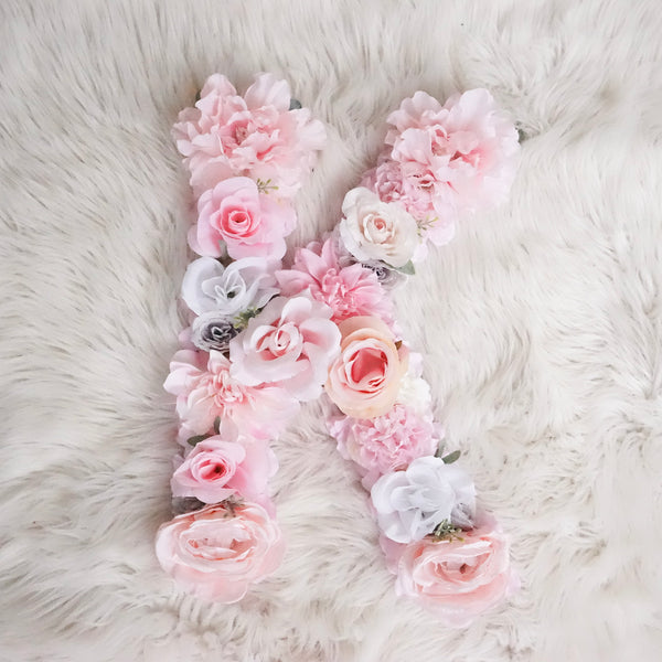Flower Letter, Floral Letter, Blush Pink Nursery Decor, Mauve Nursery, Dusty Pink Nursery, Baby Name Sign, Shabby Chic Nursery, Boho Nursery, blush pink, light pink, white, nursery letters, flower nursery letters, flower letter diy, girl bedroom, girl nursery decor
