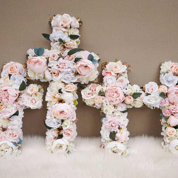 Baptism Cross, Baptism Centerpieces, Baptism Decorations, Holy Communion Cross, Holy Communion Decor, Baptism Girl Decor, Floral Cross, Blush Pink, White, Cream, Christening, Holy Communion, Catholic, Name Day Decor, Christen Wall Art