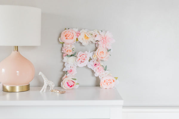 "Peach Pink & White Flower letter - 12,"" 16,"" or 20"""