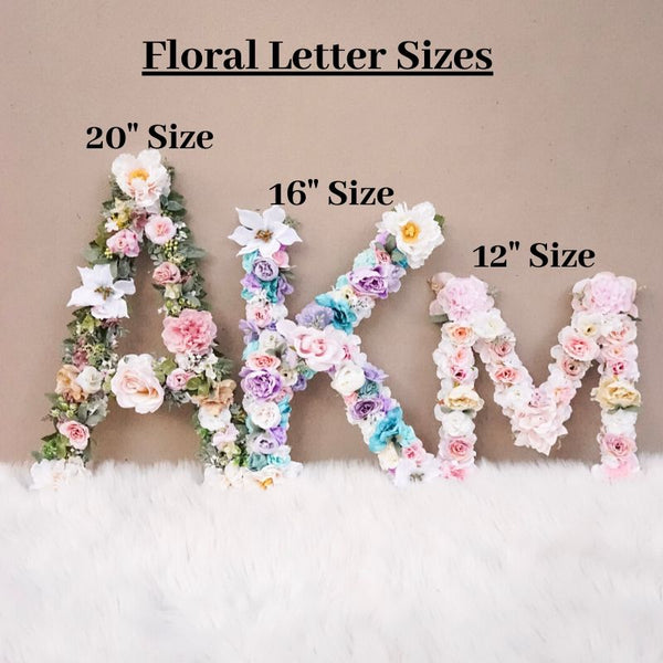 "Pink, Gold, White, Ivory Floral Letter - 12,"" 16,"" or 20"""