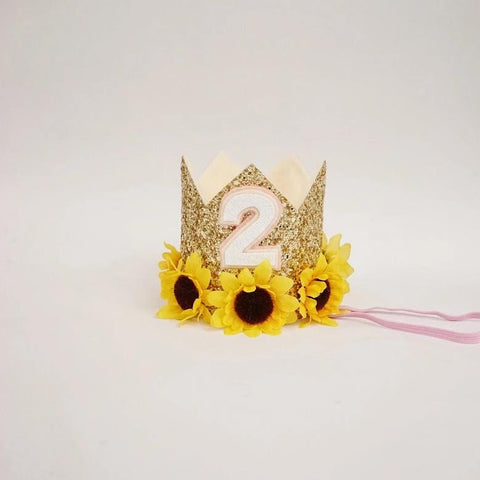 Dog Crown, Girl Birthday Crown, Dog Party Hat, Dog Outfit, Sunflower Birthday Crown, Girl Dog Birthday, Pet Crown, Gold Yellow Cream
