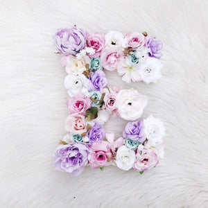 Pink, Purple, Teal, White Floral Letter, Girl Nursery Wall Art, Personalized Girl Bedroom Nursery Art, Flower Letter, Dream Nursery Decor