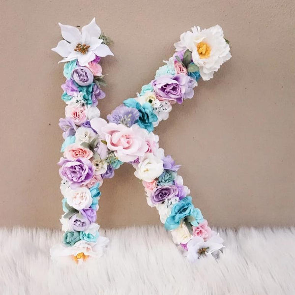 Kids Name Nursery Decor, Toddler Bedroom Decor, Flower Letter Name, Baby Girl Bedroom Decor, Boho Decor, Blush Pink Champagne Aqua Purple