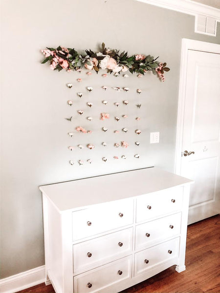 Floral Hanging Wall, Flower Wall Art, Floral Wall Hanging, Flower Wall, Nursery Girl Decor, Flower Wall Decor, Floral Wall, Pink Rose Gold