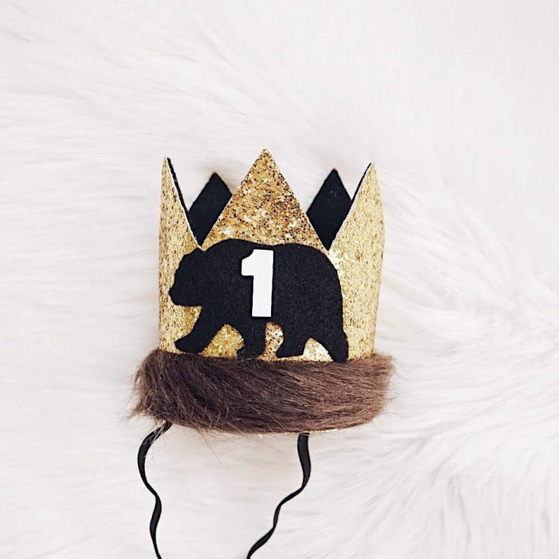 Dog Birthday Crown - Gold & Black Bear