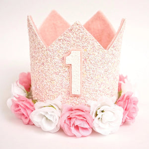 Blush Pink Birthday Crown with Flowers, 1st Birthday Crown, Birthday Outfit, Pink White, Party Hat