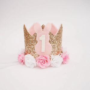 Spring Birthday Party for Girl, Easter Bunny Birthday, Birthday Crown Girl, Gold and Pink Birthday, Party Crown, Birthday Gift for Girl