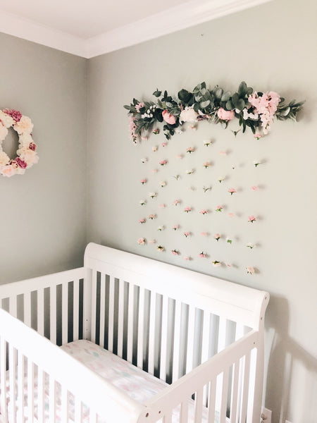Floating flower wall, blush pink white nude champagne pink foliage, nursery decor, girl nursery