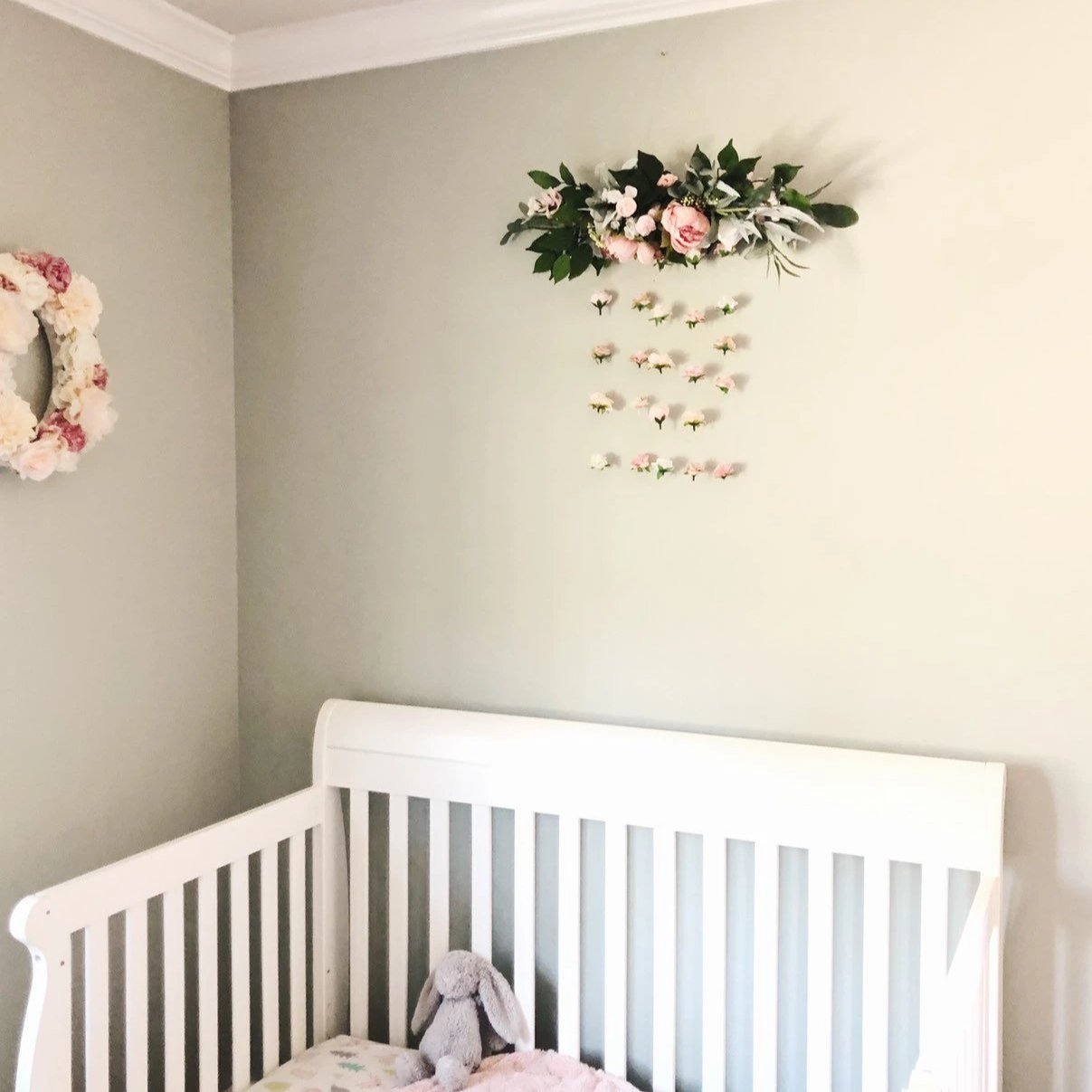 floating flower wall for baby girl nursery, floral nursery decor, blush pink flower wall, over the crib decor, girl nursery ideas, flower decor
