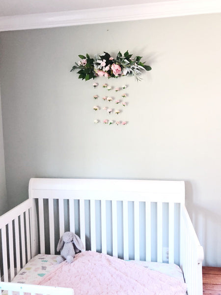 Flower Wall Hanging, Boho Baby Shower, Boho Bridal Shower Decor, Girl Nursery Decor Girl, Over the Crib Sign, Floral Wall, Flower Curtain