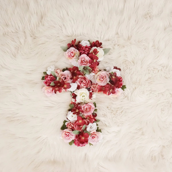 burgundy rose gold baptism decor, flower cross, gift for holy communion, bedroom decor, girl nursery decor, floral cross, holy cross, baptism decor, christening decor