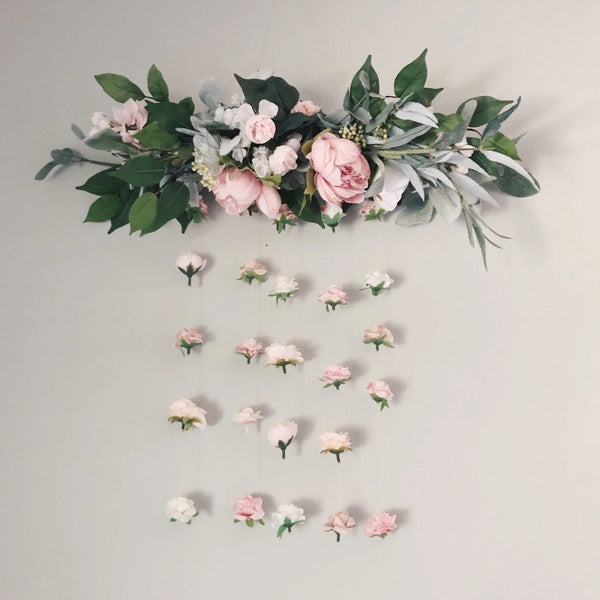 Floral Hanging Wall, Flower Wall Art, Floral Wall Hanging, Flower Wall, Nursery Girl Decor, Flower Wall Decor, Floral Wall, Blush Pink Dusty Pink Light Pink White